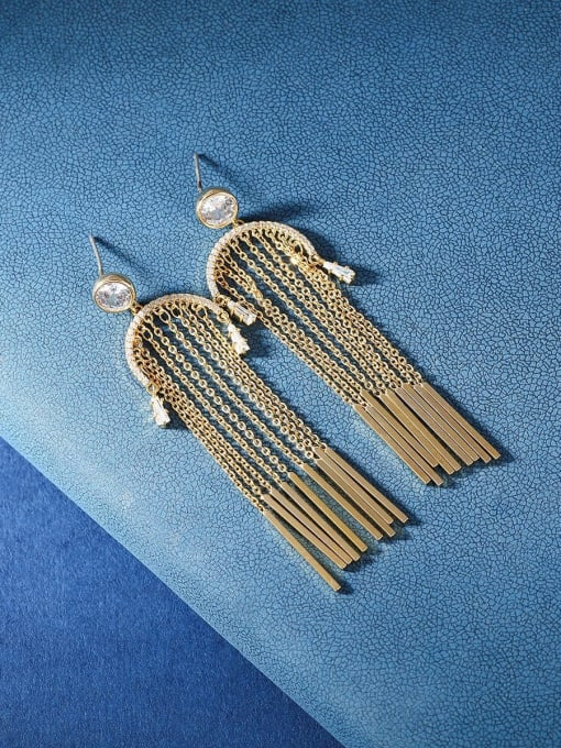 OUOU Brass Cubic Zirconia Tassel Ethnic Threader Earring