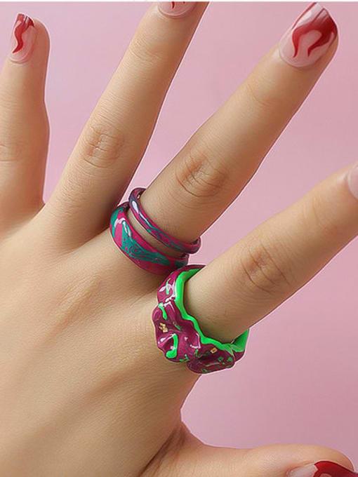 Five Color Zinc Alloy Enamel Irregular Minimalist Stackable Ring 1