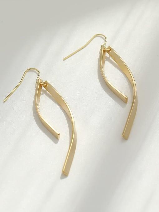 HYACINTH Brass Smooth Irregular Minimalist Hook Earring 3