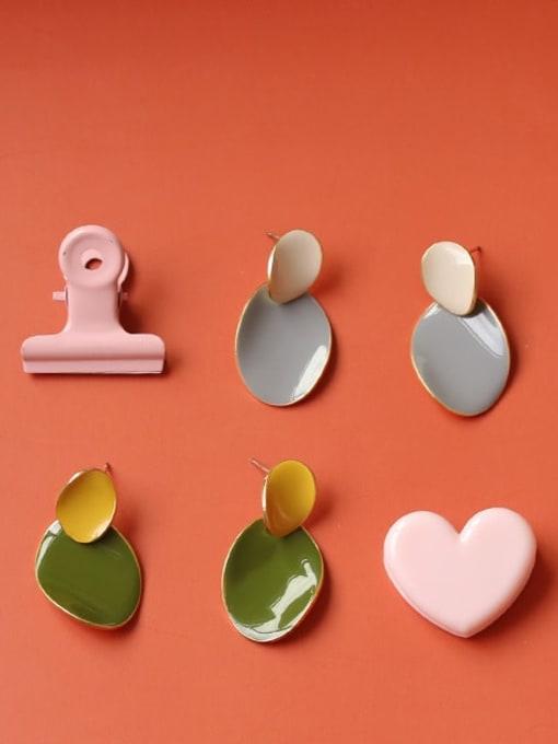 Five Color Alloy Enamel Geometric Cute Drop Earring 0