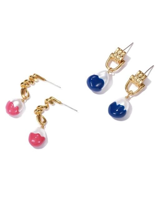ACCA Brass Enamel Geometric Vintage Drop Earring