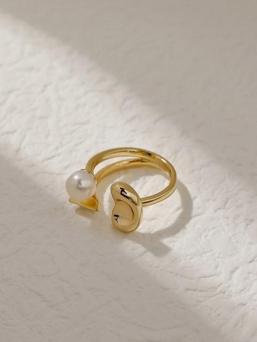 HYACINTH Brass Imitation Pearl Geometric Vintage Band Fashion Ring