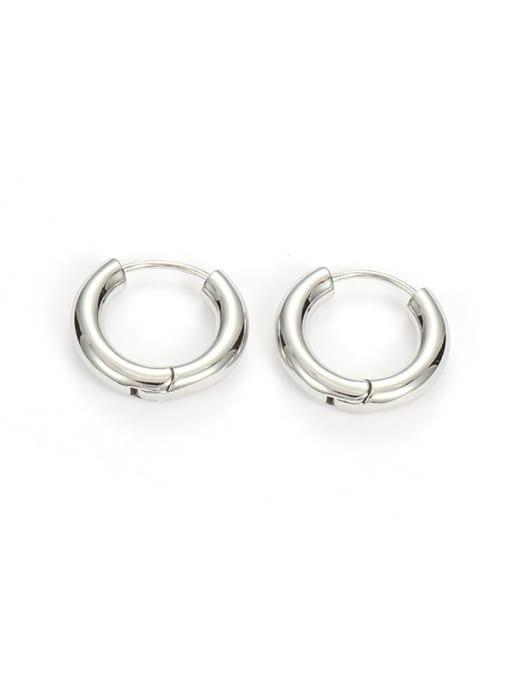 Silver round (Single) Brass Geometric Minimalist Huggie Earring