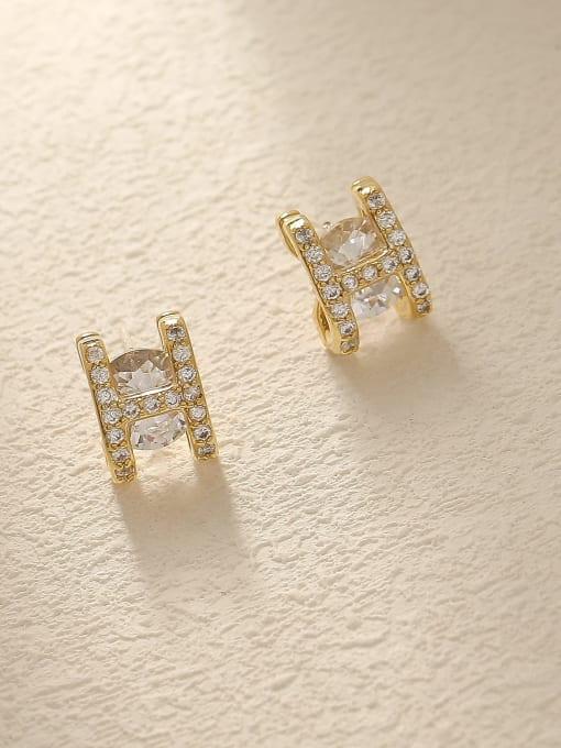 14k Gold Brass Glass Stone Letter Minimalist Stud Trend Korean Fashion Earring