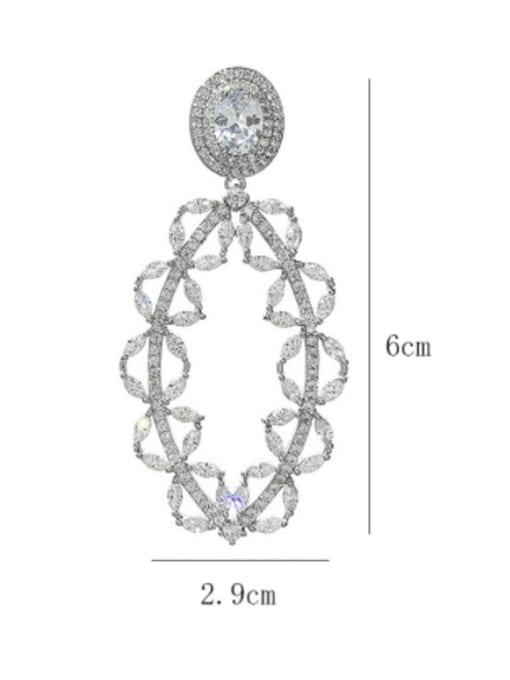 SUUTO Brass Cubic Zirconia Geometric Luxury Drop Earring 2