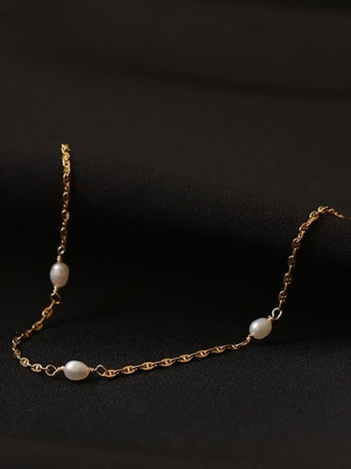 ACCA Brass Freshwater Pearl Irregular Minimalist Link Bracelet 0