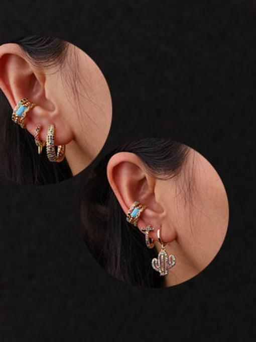 HISON Brass Cubic Zirconia Star Bohemia Single Earring 1