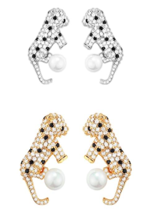 OUOU Brass Cubic Zirconia Leopard Hip Hop Stud Earring 0