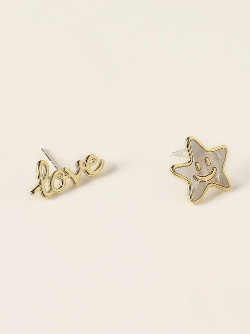 HYACINTH Brass Enamel Asymmetry Letter Minimalist Stud Earring