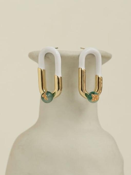 ACCA Brass Cubic Zirconia Enamel Geometric Hip Hop Stud Earring 2