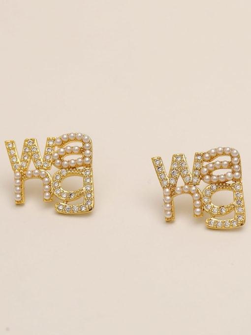 14k Gold Brass Cubic Zirconia Geometric Ethnic Stud Earring