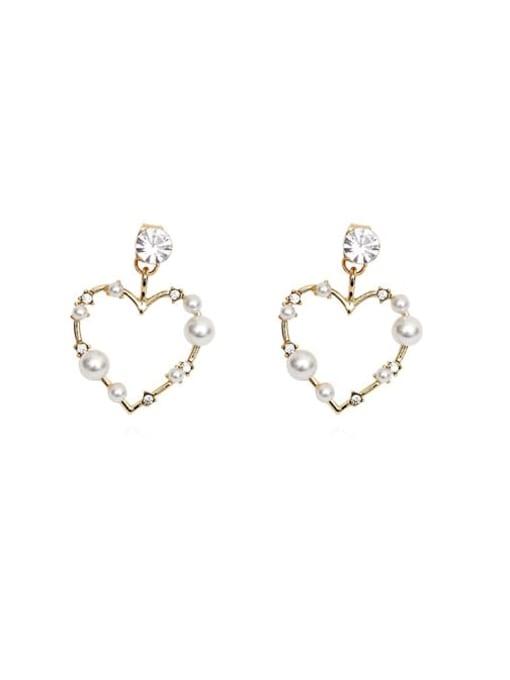 HYACINTH Brass Imitation Pearl Heart Vintage Drop Earring