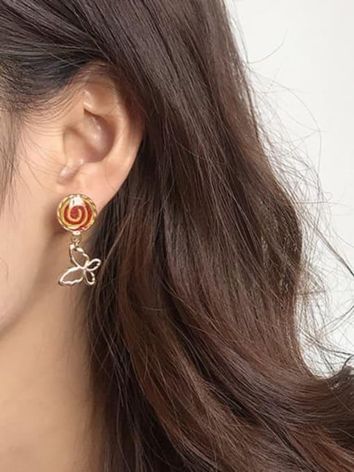 Five Color Alloy Enamel Butterfly Cute Stud Earring 1