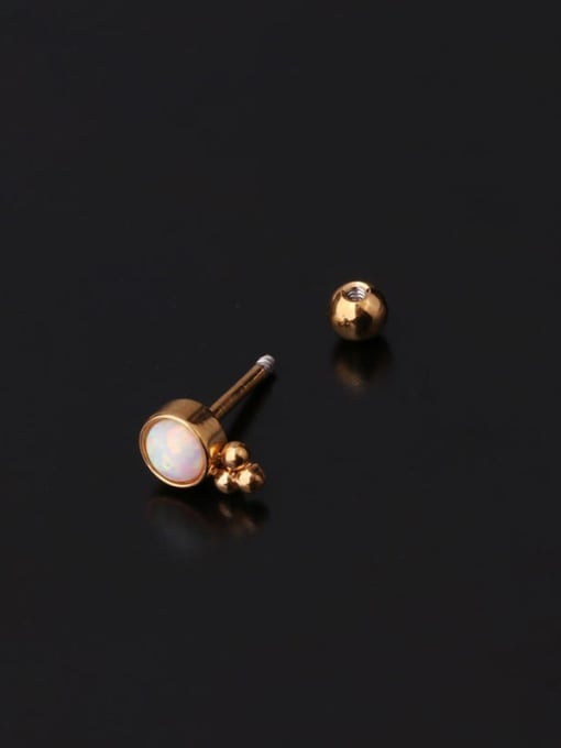 HISON Brass Opal Ball Hip Hop Single Earring 1