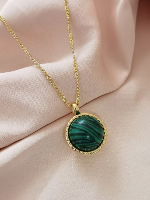 14K gold +green wood grain beads Brass Imitation Pearl Geometric Minimalist Necklace
