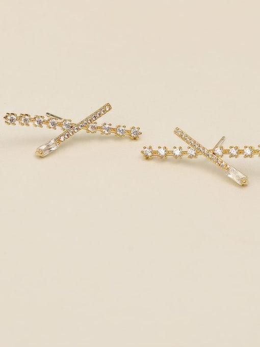 14K gold Copper Rhinestone Geometric Minimalist Stud Earring