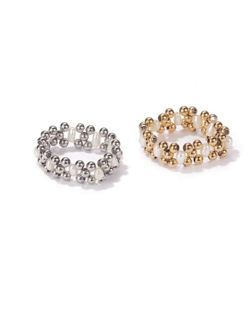 ACCA Brass Imitation Pearl Geometric Vintage Stackable Ring 0