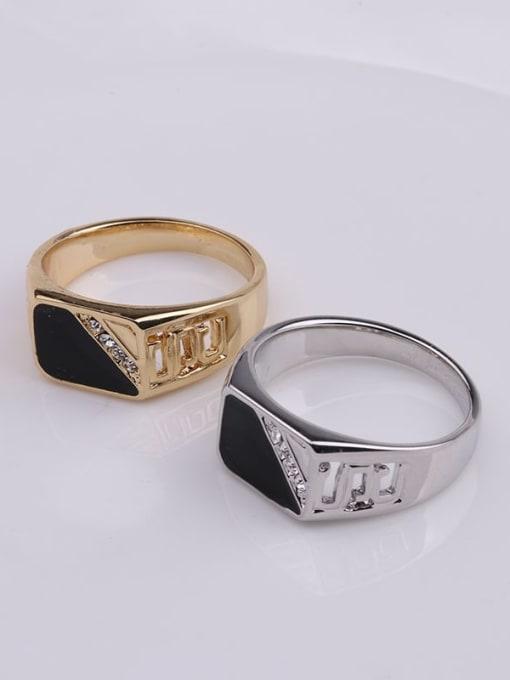 HISON Zinc Alloy Enamel Triangle Vintage Band Ring 2