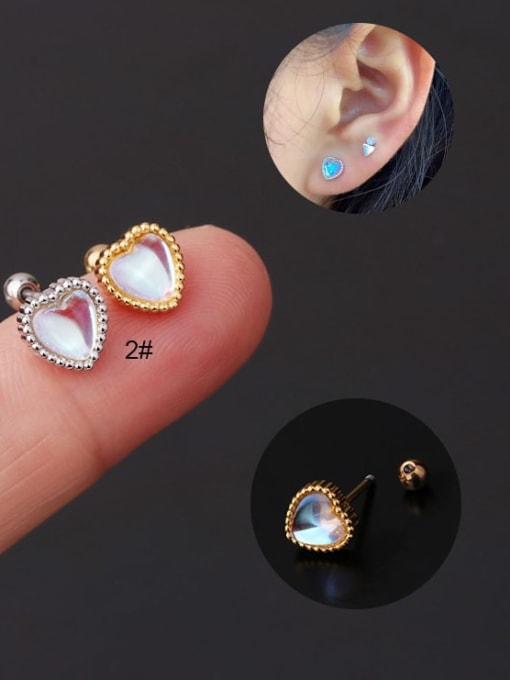 HISON Brass Opal Ball Hip Hop Stud Earring 0