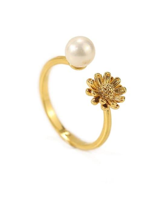 ACCA Brass Imitation Pearl Flower Minimalist Band Ring 0