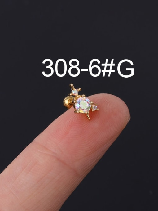 6#gold Brass Cubic Zirconia Multi Color Ball Stud Earring(Single)