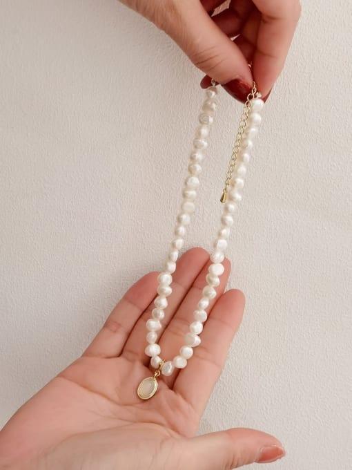 HYACINTH Brass Imitation Pearl Geometric Vintage Necklace 0