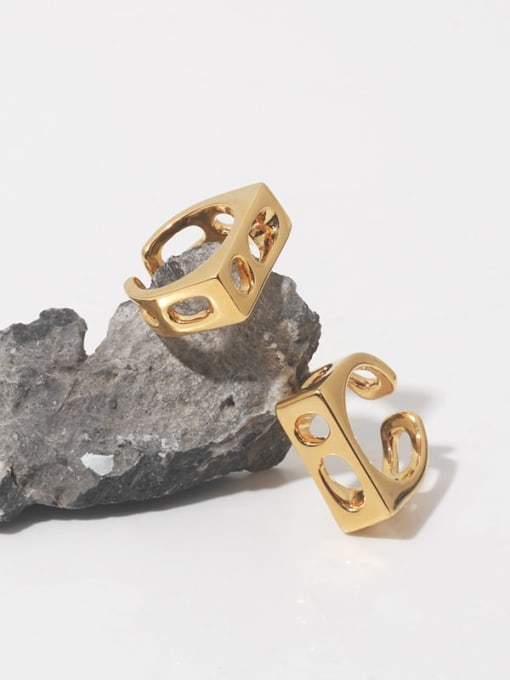 TINGS Brass Hollow Geometric Vintage Band Ring 2