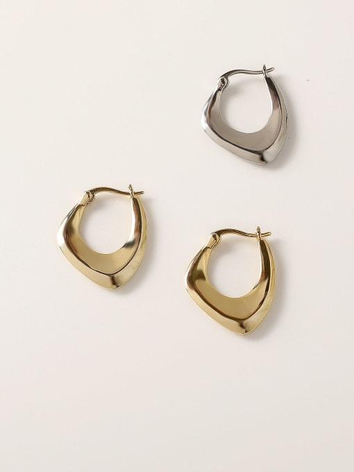 HYACINTH Brass Hollow Geometric Vintage Stud Trend Korean Fashion Earring 2