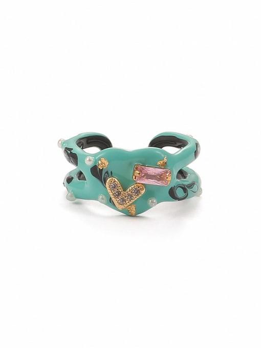Ring (size 6 and 7) Zinc Alloy Enamel Heart Minimalist Band Ring