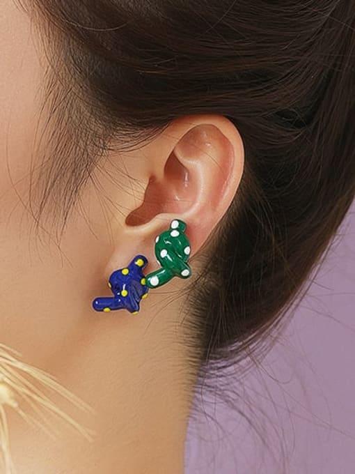 Five Color Brass Enamel  knot Minimalist Stud Earring 2