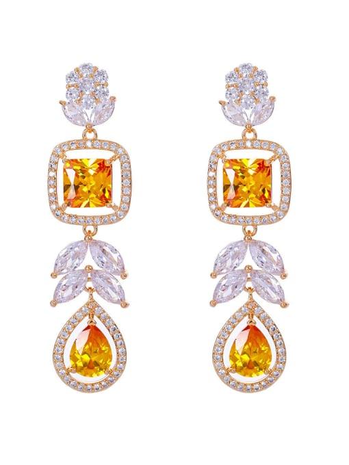 yellow Brass Cubic Zirconia Heart Luxury Drop Earring