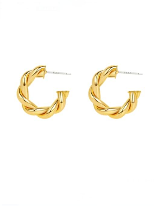 HYACINTH Brass  Twist Geometric Vintage Hoop Earring 0
