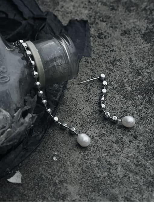 TINGS Brass Asymmetric Bead Tassel Vintage Threader Earring 2