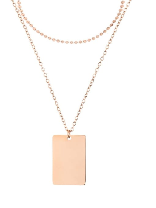 rose gold Stainless steel  Minimalist Geometric Pendant Multi Strand Necklace