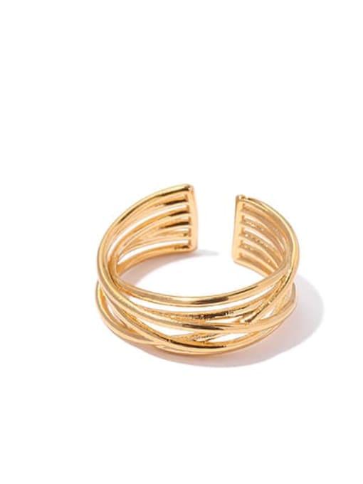 2 Brass Geometric Vintage Band Ring