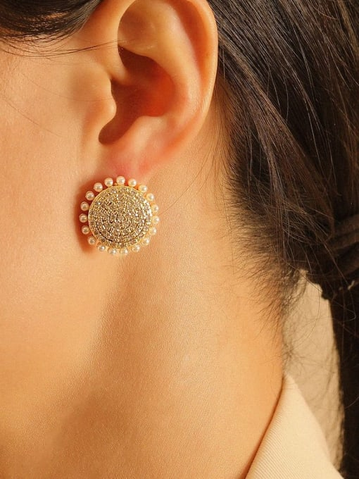 HYACINTH Brass Cubic Zirconia Geometric Ethnic Stud Earring 1