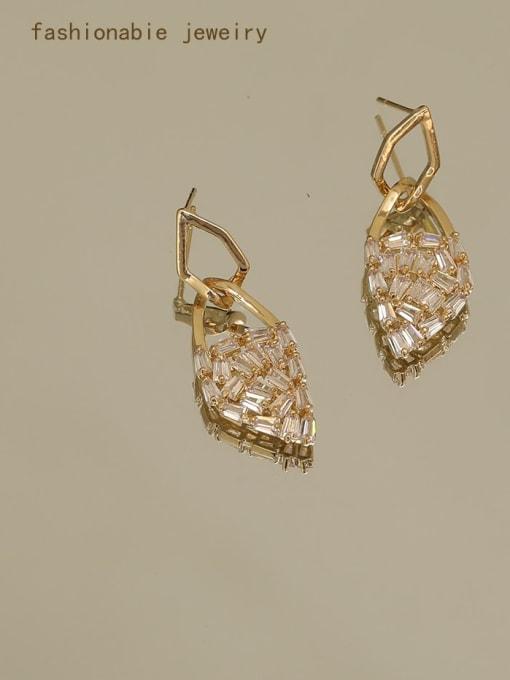 14K real gold Brass Cubic Zirconia Geometric Dainty Drop Earring