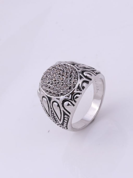 Black Zinc Alloy Cubic Zirconia Round Vintage Band Ring