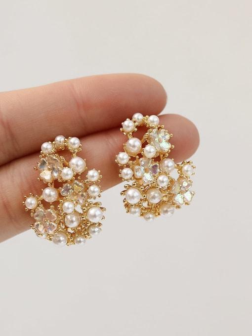 HYACINTH Brass Imitation Pearl Irregular Vintage Stud Earring 2