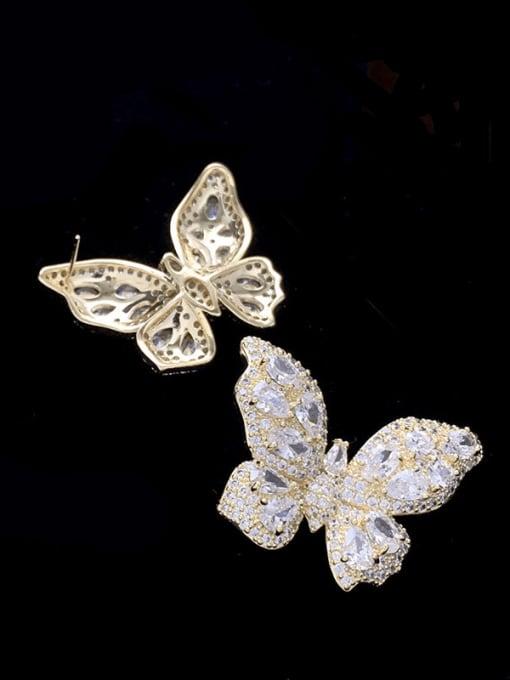 SUUTO Brass Cubic Zirconia Butterfly Trend Stud Earring 3