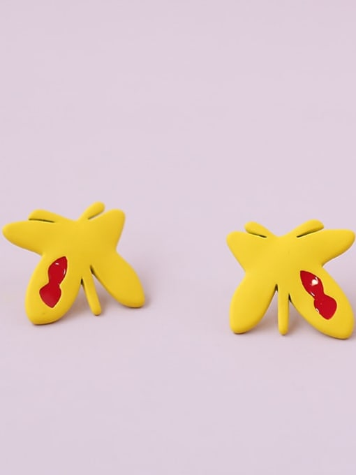 Five Color Alloy Enamel Butterfly Cute Stud Earring 3