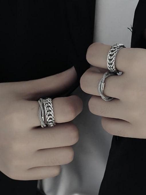 TINGS Titanium Steel Geometric Vintage Stackable Ring 2