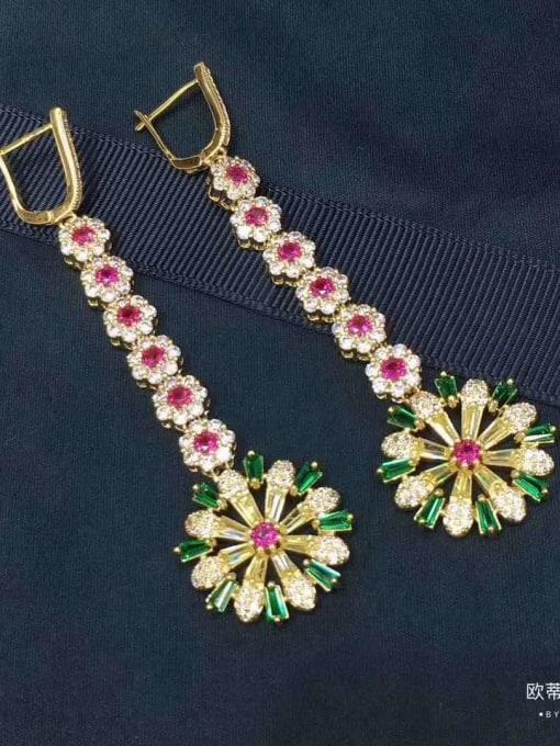 OUOU Brass Cubic Zirconia Flower Luxury Huggie Earring