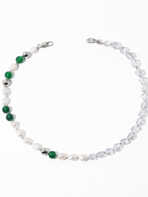 Natural materials Brass Imitation Pearl Geometric Minimalist Natural stone Necklace