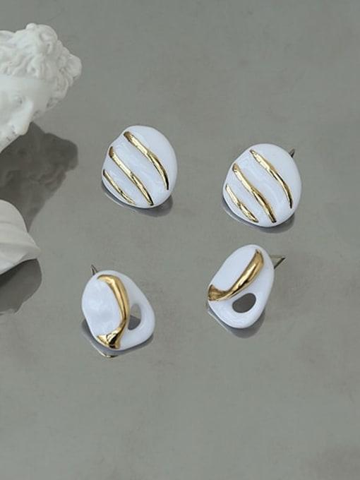 ACCA Brass Enamel Geometric Hip Hop Stud Earring 1
