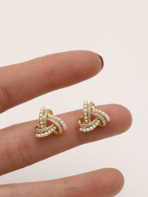 HYACINTH Brass Imitation Pearl Triangle Ethnic Stud Earring 2