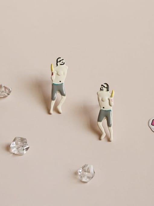 Five Color Alloy Enamel Irregular Cute Stud Earring