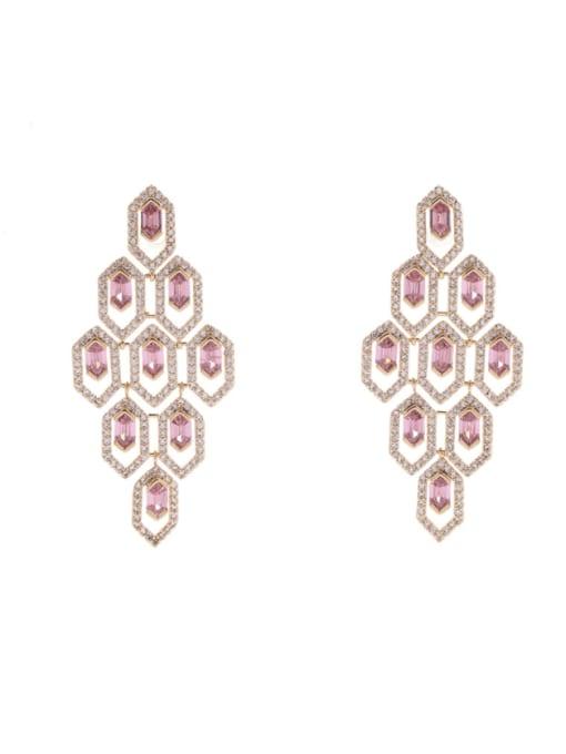 OUOU Brass Cubic Zirconia Geometric Statement Drop Earring