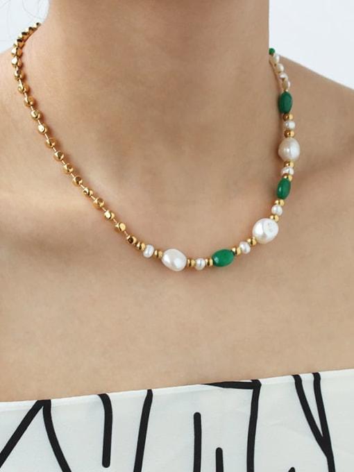TINGS Brass Imitation Pearl Geometric Minimalist Necklace 1