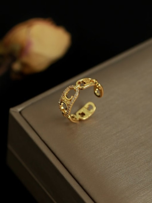 Five Color Brass Cubic Zirconia Geometric Vintage Band Ring 2